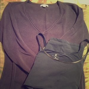 Navy blue sweater with matching tank